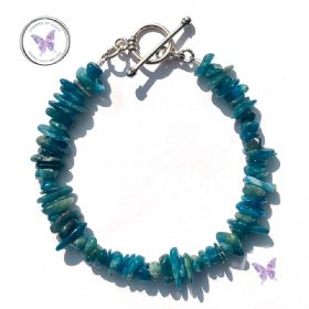 Apatite Chip Healing Bracelet With Silver Toggle Clasp